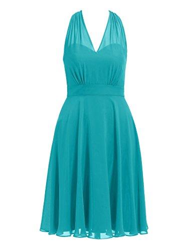 Alicepub Robe De Demoiselle D'honneur Licol Femmes Courte V-cou Robes De Bal De Soirée De Turquoise