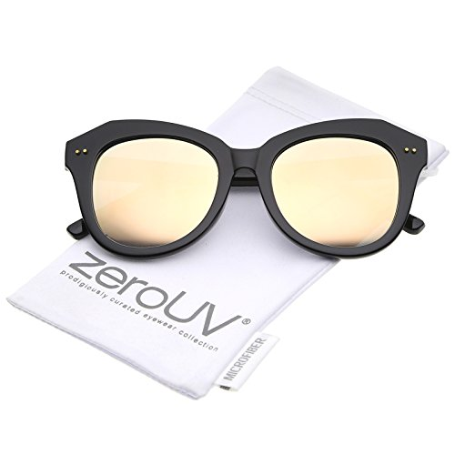 zeroUV - Women's Oversize Horn Rimmed Colored Mirror Round Lens Cat Eye Sunglasses 52mm (Black / Pink - Cat Eye Subtle Sunglasses