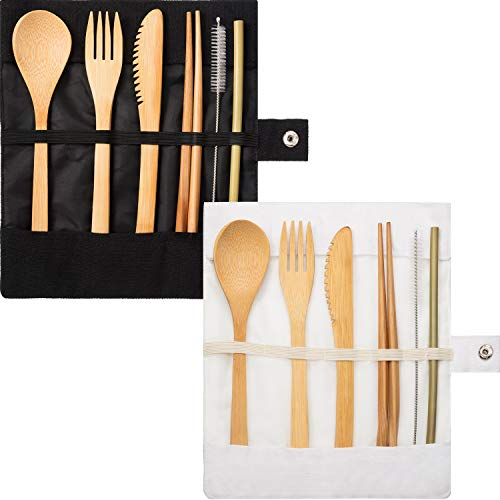 (Tatuo 2 Set Bamboo Cutlery Flatware Set Bamboo Travel Utensils Include Reusable Knife Fork Spoon Chopsticks Straws (Pure White and Black))