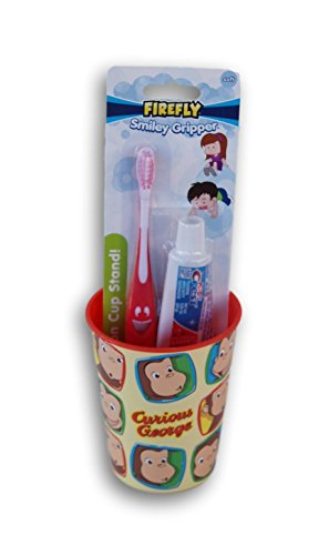 Curious George Tooth Brushing Kit - Toothbrush, Toothpaste, and Rinsing Cup]()
