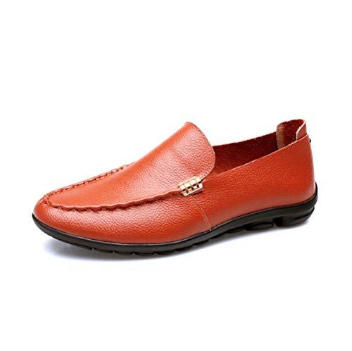 Hombres De Zapatos De Perezosos Verano Brown Juvenil Primavera LYZGF Casual Moda Cuero para P6xZdqw