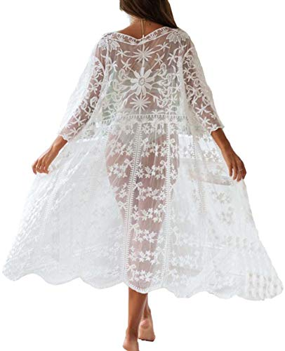 Bikini Cardigan Women Lace Boho Beach Wears Knee-Length White Duster for Women (one size, 3054)