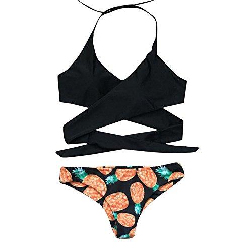 Bikini Set,Han Shi Women Halter Push-up Padded Bra Split Bandage Swimwear Bathing Suit (Black, XS)