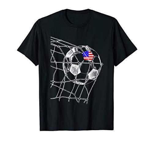 US USA America Flag on Soccer Ball Football Jersey T-Shirt