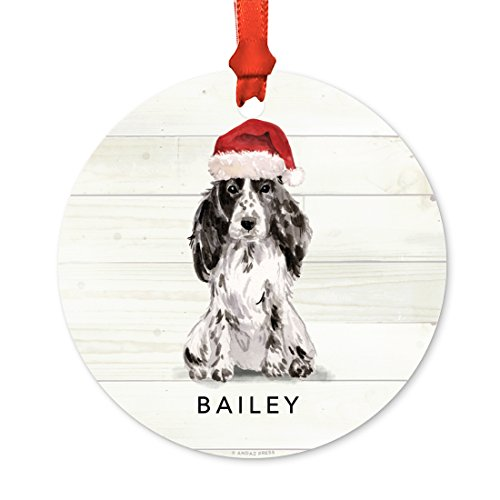 Andaz Press Personalized Animal Pet Dog Metal Christmas Ornament, Cocker Spaniel with Santa Hat, 1-Pack, Includes Ribbon and Gift Bag, Custom Name