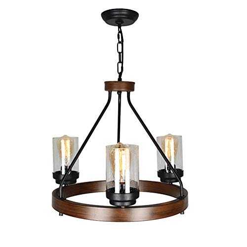 Baiwaiz Round Rustic Chandelier, Metal Farmhouse Pendant Lighting with Clear Seeded Glass Shade 3 Lights Edison E26 079 For Sale