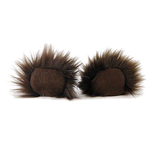 Pawstar Clip In Furry Teddy Bear Ears Hair Clips On - Brown