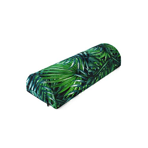 Half Moon Memory Foam Support Pillow with Removable Cover in Tropical Garden Print Relief for Neck Back Shoulder Pain Side Sleeping Sleeper Office Chair Spine Waist (Spine Removable)
