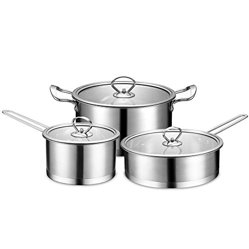 BINLIFA Stainless Steel Nonstick Tri-Ply Induction Ready Cookware Set 6 Piece,Silver