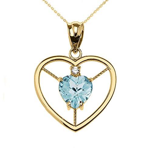Collier Femme Pendentif Élégant 14 Ct Or Jaune Diamant et Mars Pierre De Naissance Bleu Clair Agua Cœur Solitaire (Livré avec une 45cm Chaîne)
