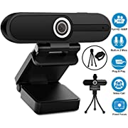 #LightningDeal Webcam with Microphone, YQE Web Camera Full HD 1080P Webcam with Cover Tripod, Laptop PC Desktop Computer Camera Windows Mac OS for Video Calling Streaming Gaming Zoom YouTube Skype Hangouts Facetime