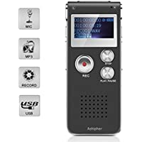 Digital Voice Recorder,8GB Capacity Digital Rechargeable Audio Recorder Dictaphone with MP3 Player for Recording Lectures, Meetings, Conversation and Interviews by Ashipher