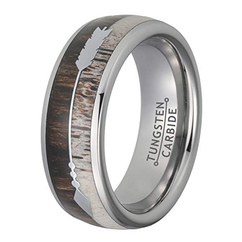 Wow Jewelers 8mm Deer Antler Silver Tungsten Rings for Men Women Wedding Bands Arrow Inlay Dome Edges Comfort Fit