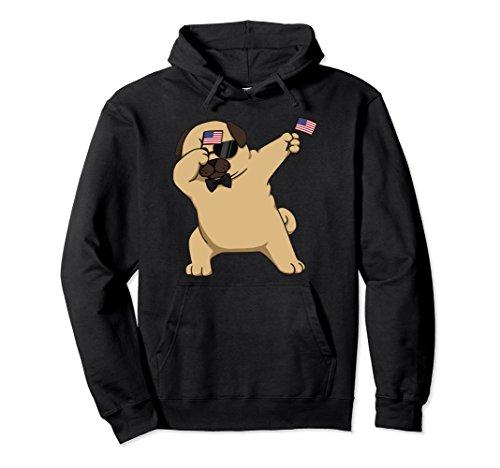 Pug Hoodie (Unisex American Pride Pug Dog USA Dabbing Funny Hoodie Medium Black)