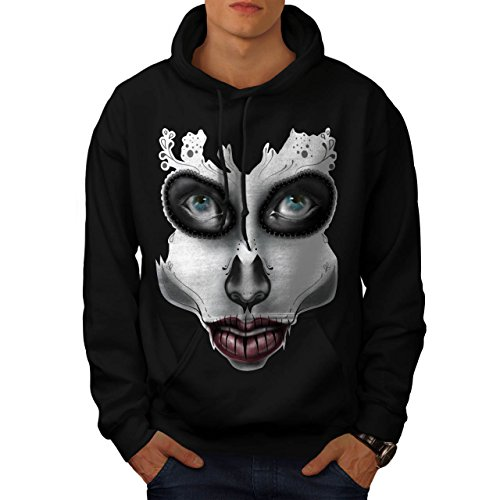 [Sugar Skull Make Up Beauty Face Men S Hoodie | Wellcoda] (Sugar Skull Costume Tumblr)