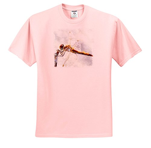 3dRose Taiche - Watercolor Painting - Dragonfly - Platinum White Dragonfly - T-Shirts - Adult Light-Pink-T-Shirt 5XL (ts_284679_41)