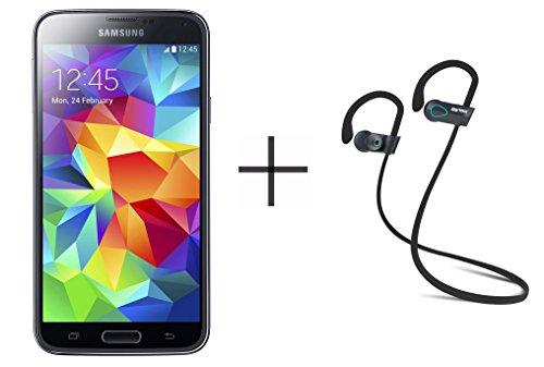 Samsung Galaxy S5 G900a 16GB Unlocked GSM Smartphone, Black + SHARKK Flex 2o Wireless Bluetooth WaterProof Headphones with Mic (Value...