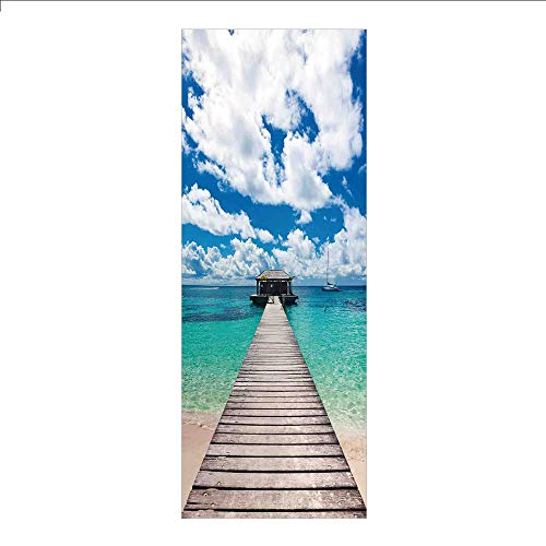 - 3D Decorative Film Privacy Window Film No Glue,Ocean,Caribbean Seascape with Jetty and Sail Boat Cloudy Sky Clear Exotic Ocean,Turquoise Blue White,for Home&Office