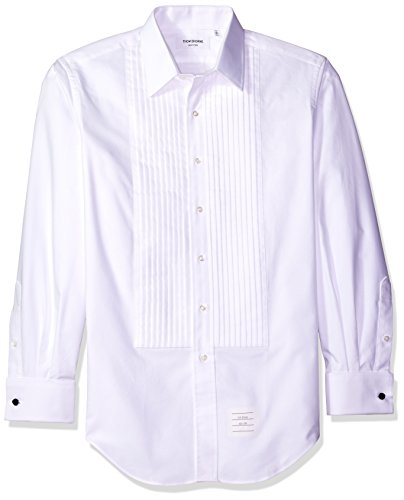 - Thom Browne Men's Oxford Classic Tux Shirt with Ruffle Bib, White, 17S US