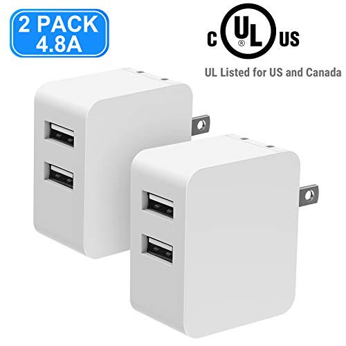 USB Wall Charger, Vogek UL Listed 2-Pack 24W 4.8A Dual USB Wall Charger Adapter with Smart Identification, Portable Foldable Plug for iPhone, iPad, Galaxy S9/S8,Note 8, LG and More - White