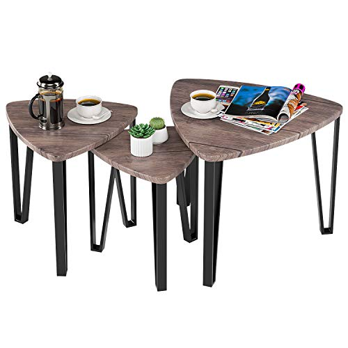 HOMFA Vintage Nesting Coffee Tables, End Tables Modern Decor Side Table for Home and Office, Sturdy and Easy Assembly, Set of 3 ()