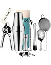 ARSSOO Bartender Kit-Stainless Steel Cocktail Shaker Bar Set with 600/800 ML Weighted Boston Shakers, 25/50ML Jigger, 2 Pourers, Julep Strainer, Mesh Strainer, Muddler, Spoon & Lemon Squeezer (Silver)