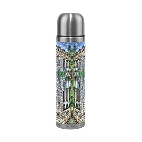Mansion Hut Jungle Cottage Garden 500ML Stainless Steel Double Walled vacuum insulated water bottle Travel Mug Leather Cover Thermos 17 - Hut Jungle