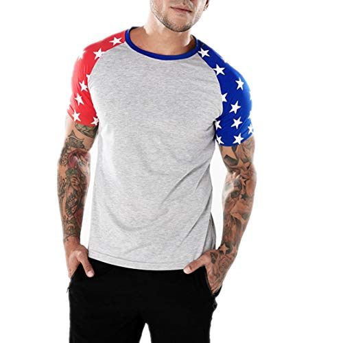 NEEKEY Mens T Shirts Fashion Personality Men's Casual Flag Slim Short Sleeve T Shirt Top Blouse(L,Gray)