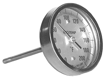 "REOTEMP AA1201F43 Stainless Steel Bi Metal Thermometer, 12"" Stem, 1/2"" NPT Connection, 3"" Dial, 0 to 200 Degrees F, Back Mount"