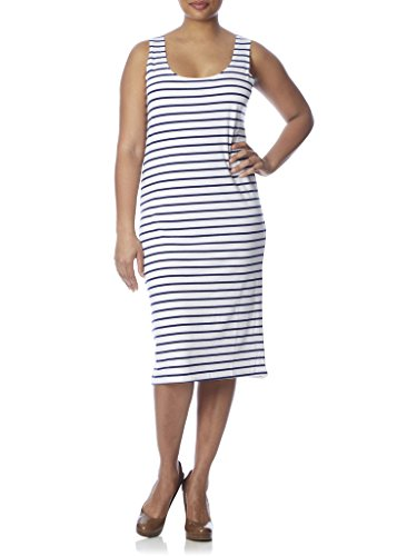 [77911XR-WHT/NVY-4X] Love Connection Tank Dress for Women - Plus Size, Stretch, Fitted, Stripe Print (Tank Dress Plus Size)