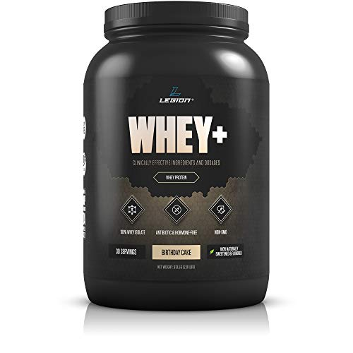Legion Whey+ Whey Isolate Protein Powder from Grass Fed Cows - Low Carb, Low Calorie, Non-GMO, Lactose Free, Gluten Free, Sugar Free. Great For Weight Loss & Bodybuilding (Birthday Cake, 30 Svgs)