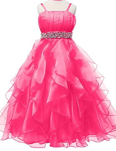 Length Natural Floor Taffeta (AkiDress Fabulous Cute Rhinestone Belt Ruffled Skirt Flower Girl Dress Fuchsia 4-18)