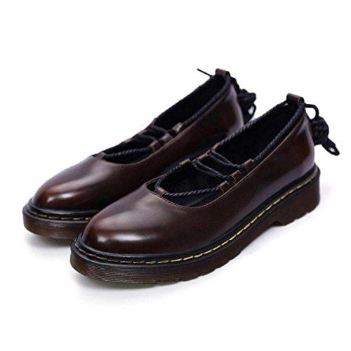 COOLCEPT Zapatos Moda Cordones Dedo Del Pie Cerrado Bombas Zapato Chicas Colegio Zapato para Mujer Marron