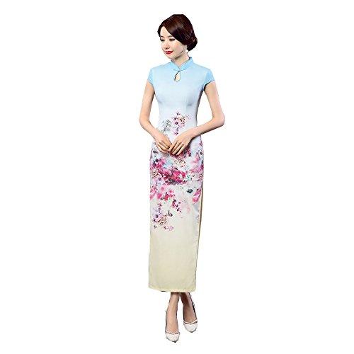 Qipao Imprimé Style Satin Manche Acvip Cheongsam Longue Courte Bleu Fleur Robe En Femme Chinoise 4qFwXpUF