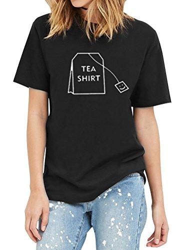 (ZXH Women Men Unisex Letter Print Tea Shirt Tea Bag Short Sleeve Cotton T-Shirt)