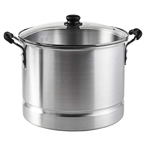 IMUSA USA MEXICANA-424 Aluminum Steamer with Glass Lid 24-Quart, Silver (Pot Small Tamale Steamer)