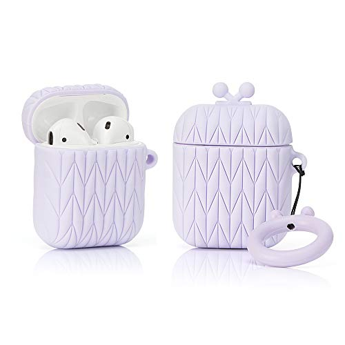 LEWOTE Airpods Silicone Case Cover Compatible for Apple Airpods 1&2[Funny Design][Girl Sisters Series] (Diamond Suitcase Purple)(1 Pack)