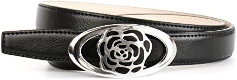 Anthoni Crown Damen Ledergürtel mit Unterführung, schwarz 85-105 cm /N1BRT10
