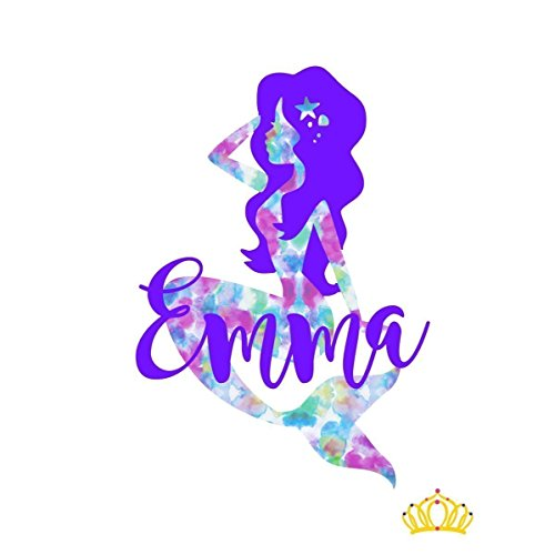 (Mermaid Vinyl Decal for Cups or Car - 11 Pattern Options - Customizable name, size, and colors)