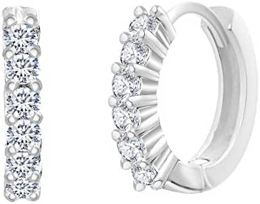 SPECIAL OFFER 18K White Gold Over Sterling Silver Cubic Zirconia Pave Huggie Hoop Earrings Gift