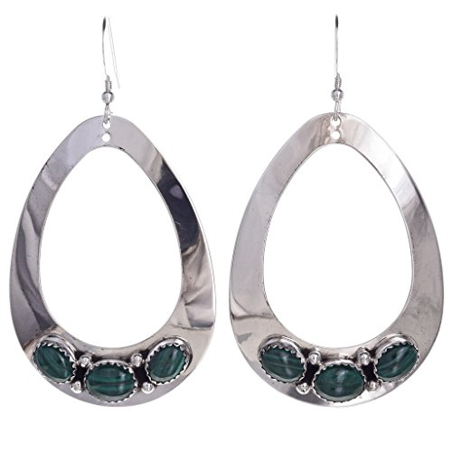 Southwest Malachite - Green Malachite Silver Teardrop Navajo Earrings French Hooks 0230