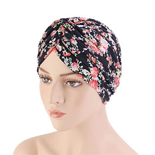 (New Women's Cotton Turban Flower Prints Beanie Head Wrap Chemo Cap Hair Loss Hat Sleep Cap (Black Flower))