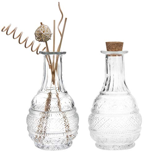 - MyGift Antique Style Embossed Apothecary Glass Bottle with Cork Lid, Set of 2