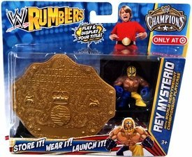 WWE Wrestling Rumblers Exclusive Rey Mysterio with World Heavyweight Championship Playcase (Rey Mysterio Wwe)