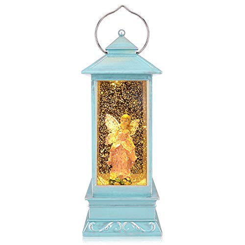 QTKJ USB and Battery Operated Cute Pink Angel with Wing Night Lamp Spinning Water Lantern Snow Globe Lantern for Desk, Room Decoration Gifts (Blue)