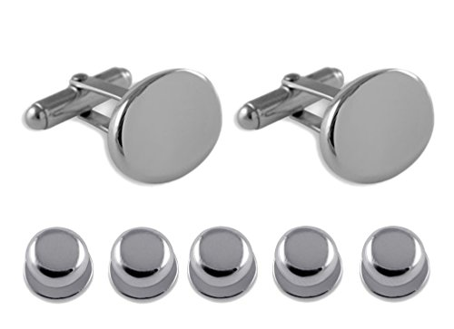 Dress plain Studs Sterling oval Gift silver Set Cufflinks Shirt YxApXn
