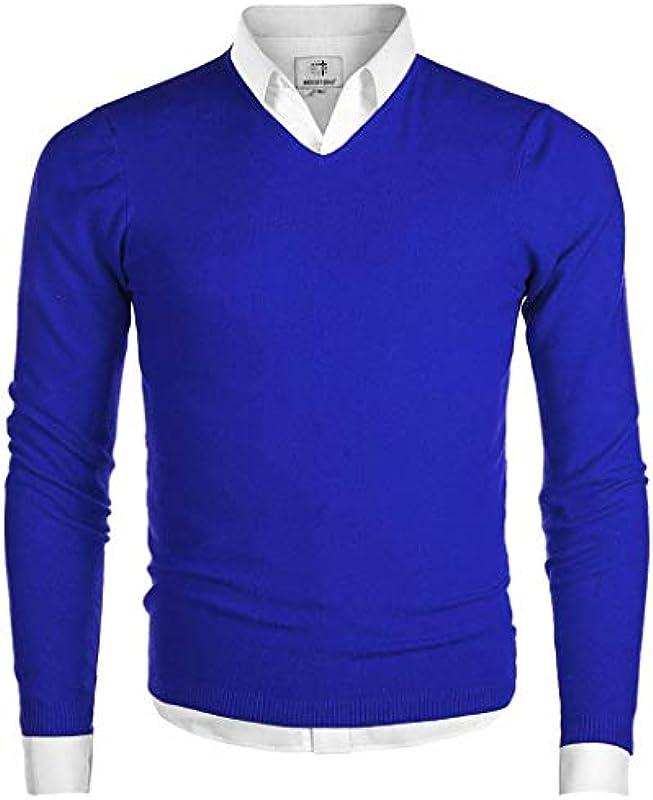MOCOTONO Męskie V-Ausschnitt Langarm Pullover Casual Sweater - Blau - Klein: Odzież