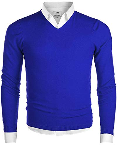 MOCOTONO Men's V-Neck Long Sleeve Regular Fit Pullover Casual Sweater Blue Large Blue Large ()