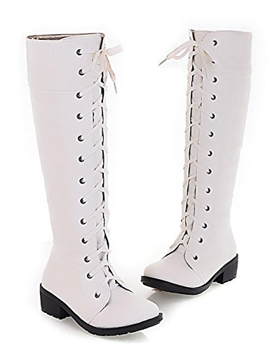 Popuus Women's Autumn Fall Over Knee High Combat Riding Boots
