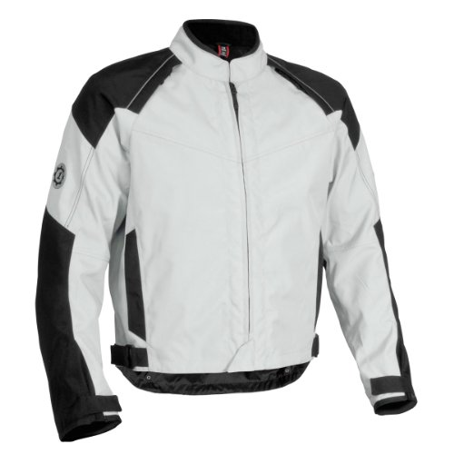 Firstgear Rush Tex Men's Textile Motorcycle Jacket (Silver, ()